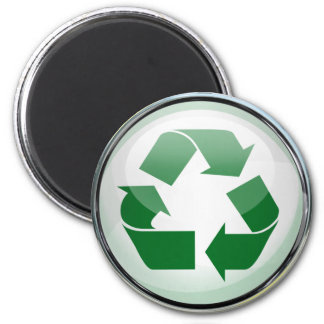 Recycle Logo in Glass & Chrome 6 Cm Round Magnet