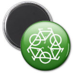 Recycle Logo w/ Bicycles 6 Cm Round Magnet