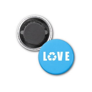 Recycle Love 3 Cm Round Magnet