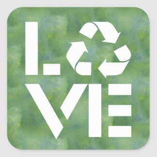 Recycle Love Square Sticker
