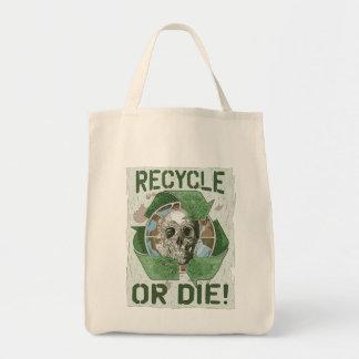 Recycle or Die Skull Grocery Tote Bag