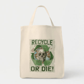 Recycle or Die Skull Tote Bag