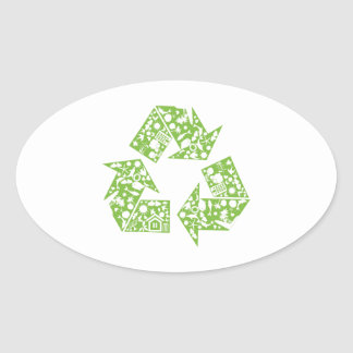 Recycle Oval Stickers