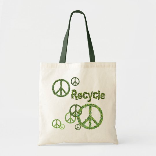 Recycle Peace Sign Reusable Tote Bag