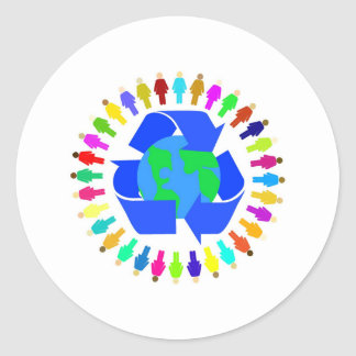 recycle people round sticker