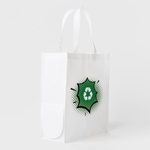 Recycle Pow Organic Planet Reusable Canvas Bags Market Tote