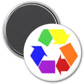 recycle rainbow symbol 7.5 cm round magnet