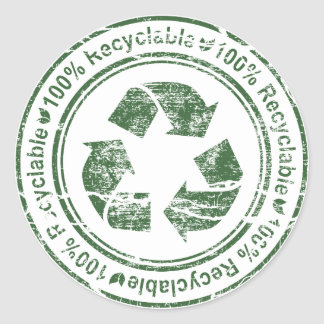 Recycle ~ Recyclable Reuse Green Earth Round Sticker