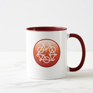 recycle red ringed ceramic mug by Petr Kratochvil