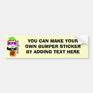 Recycle.simple. T-shirts and Gifts Car Bumper Sticker