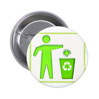 Recycle Symbol 6 Cm Round Badge