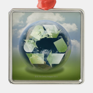 Recycle symbol and planet Earth Christmas Ornament