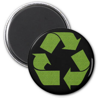 Recycle Symbol Grass 6 Cm Round Magnet