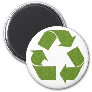 Recycle Symbol Grass 6 Cm Round Magnet
