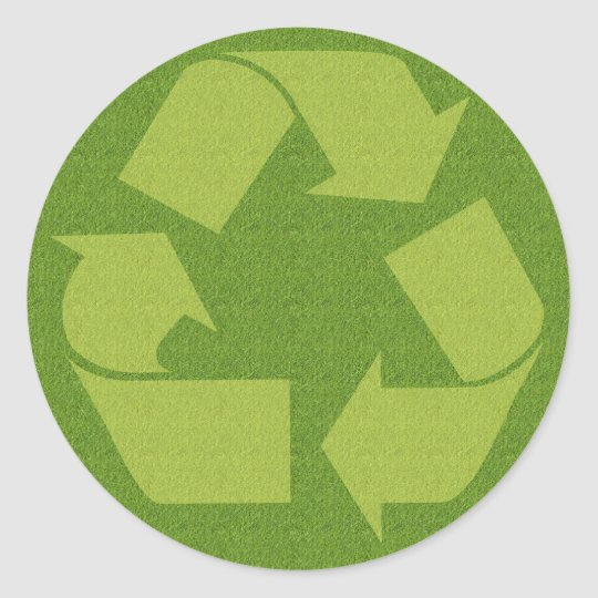 Recycle Symbol Grass Classic Round Sticker