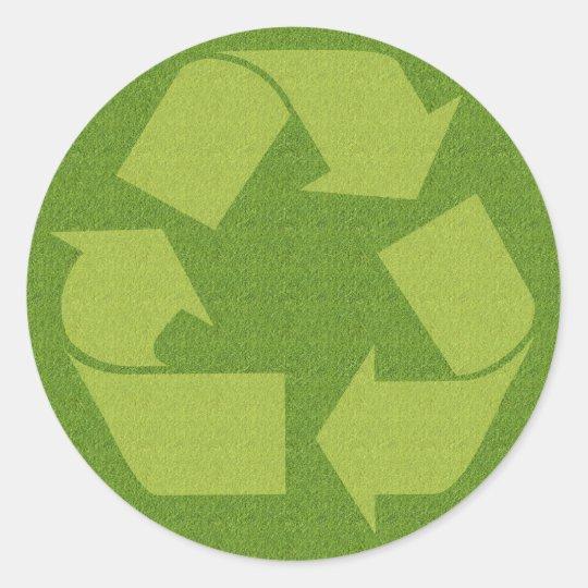 Recycle Symbol Grass Classic Round Sticker Zazzle