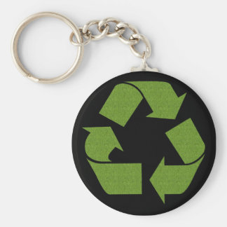 Recycle Symbol Grass Key Ring