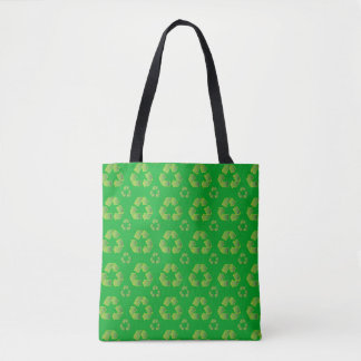 Recycle symbol isolated on green background tote bag