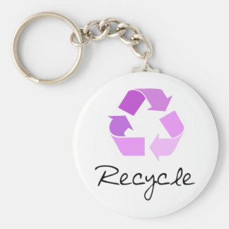 Recycle symbol! lilac design! basic round button key ring