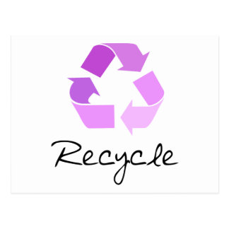 Recycle symbol! lilac design! postcard