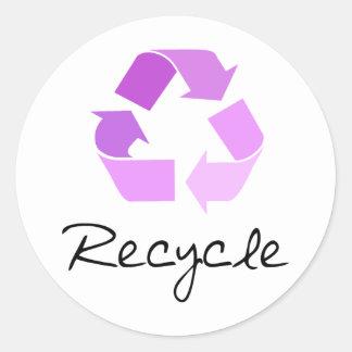 Recycle symbol! lilac design! round sticker