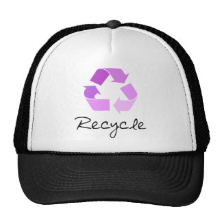 Recycle symbol lilac design trucker hats