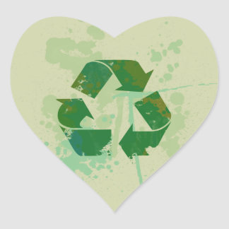 Recycle Symbol Heart Stickers