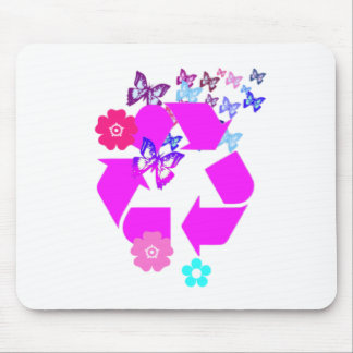 Recycle Symbol with Butterflies and Flowers Mouse Pad