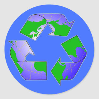Recycle Symbol with Earth Sticker
