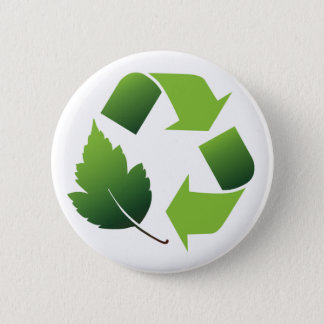 RECYCLE SYMBOL WITH LEAF 6 CM ROUND BADGE