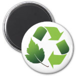 RECYCLE SYMBOL WITH LEAF 6 CM ROUND MAGNET
