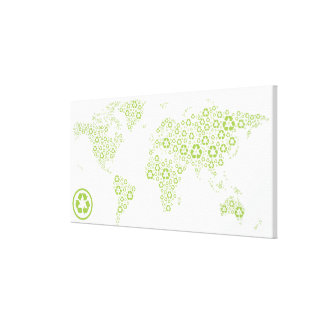 Recycle symbols used to create the planet canvas print