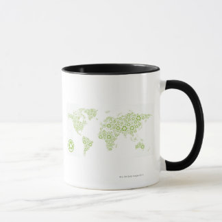 Recycle symbols used to create the planet mug