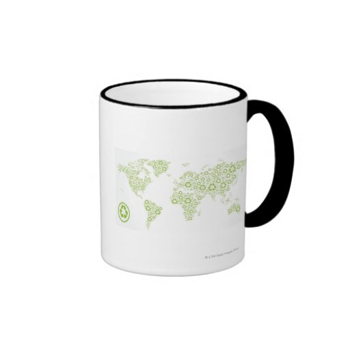 Recycle symbols used to create the planet coffee mug