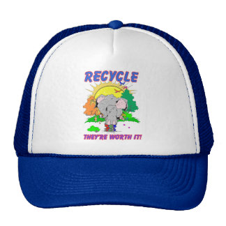 """Recycle """"they're worth it"""" mesh hats"""