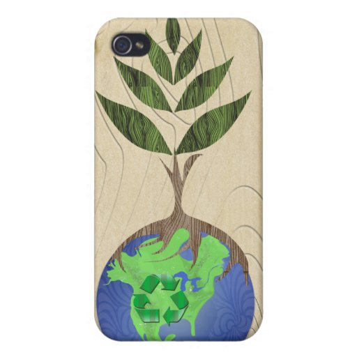 Recycle Tree Earth Globe Wood Grain iPhone Case iPhone 4/4S Cases