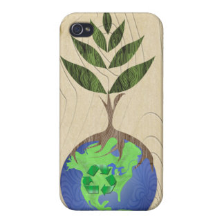 Recycle Tree Earth Globe Wood Grain iPhone Case