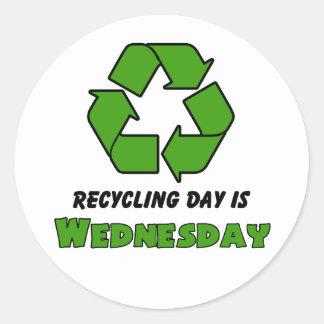 Recycle Wednesday Round Sticker