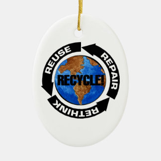 Recycle World Ceramic Oval Decoration