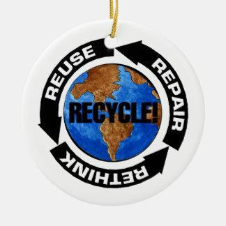 Recycle World Round Ceramic Decoration