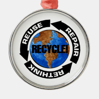 Recycle World Silver-Colored Round Decoration