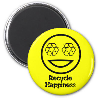 Recycle Your Happiness 6 Cm Round Magnet
