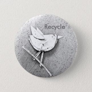 Recycled Bird 6 Cm Round Badge