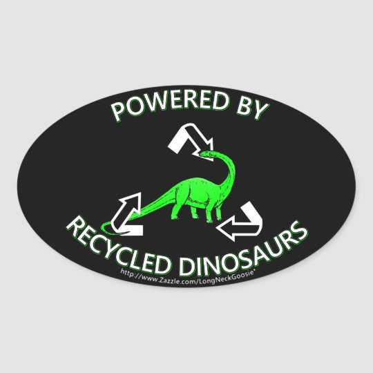 Recycled Dinosaurs Oval Sticker
