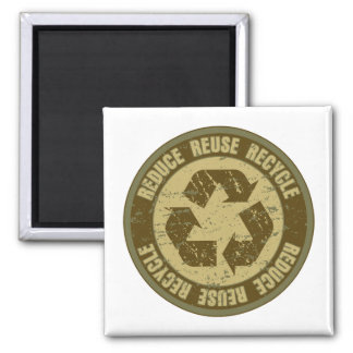 Recycled Grunge Square Magnet