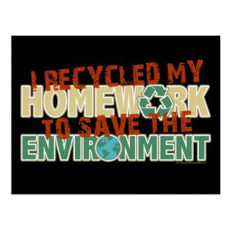 Recycled Homework Postcard