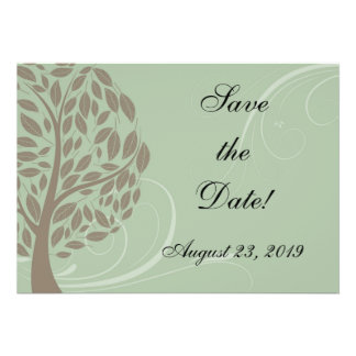 Recycled Paper Green Eco Tree Photo Save the Date Personalised Announcement
