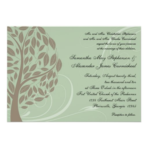 Recycled Paper Wedding Invitations: Recycled Paper Green Eco Tree Wedding Invitations 13 Cm X