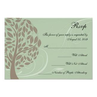 Recycled Sage Green/Brown Stylised Eco Tree RSVP Custom Invite