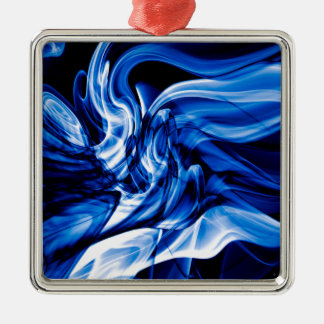Recycled Smoke Art Design Silver-Colored Square Decoration